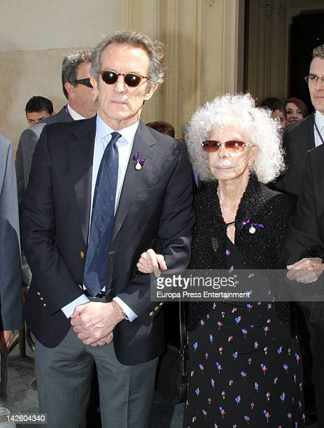 Dukes of Alba Cayetana FitzJames Stuart and Alfonso Diez attend Easter Procession on April 5 2012 in Seville Spain