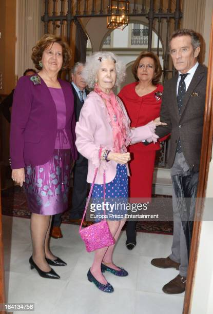 Dukes of Alba Cayetana FitzJames Stuart and Alfonso Diez attends lunch at Isabel Cobo and Carmen Cobo sister's home on March 17 2013 in Seville Spain