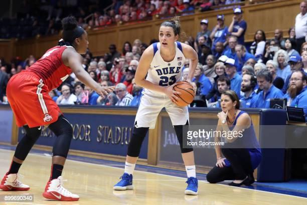 Duke's Rebecca Greenwell and Ohio State's Sierra Calhoun during the Duke Blue Devils game versus the Ohio State Buckeyes on November 30 at Cameron...