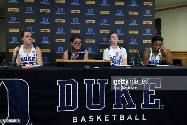 Duke's Rebecca Greenwell head coach Joanne P McCallie Erin Mathias and Lexie Brown during the postgame press conference during the Duke Blue Devils...