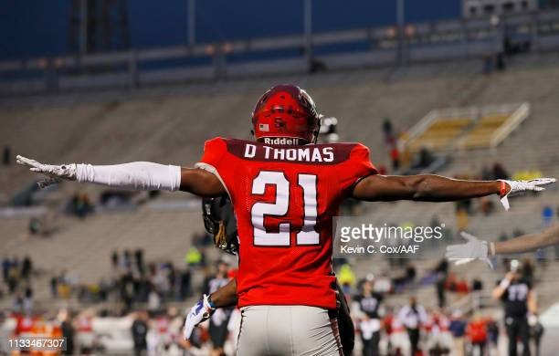 DukeThomas of the San Antonio Commanders reacts during the fourth quarter against the Birmingham Iron in an Alliance of American Football game at...