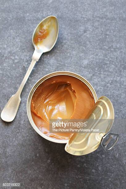 Dulce de leche in a metal tin