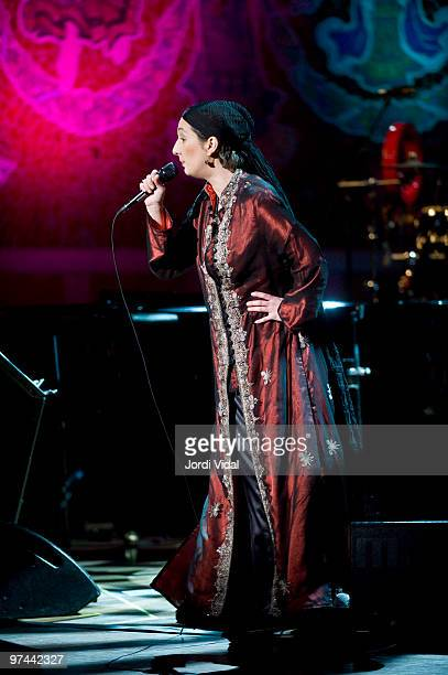 Dulce Pontes performs on stage at Palau De La Musica on March 4 2010 in Barcelona Spain