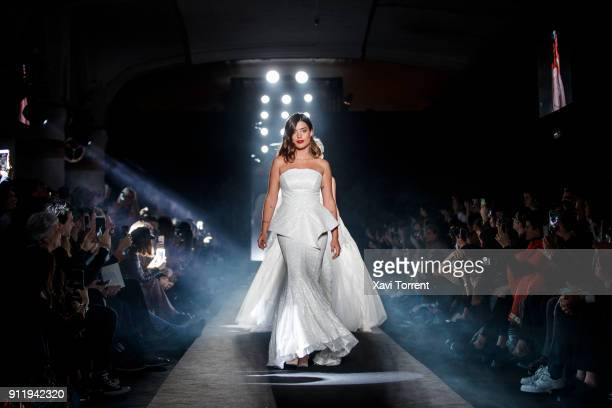 Dulceida walks the runway at the Ze Garcia show during the Barcelona 080 Fashion Week on January 29 2018 in Barcelona Spain