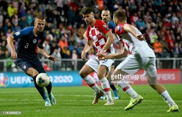 Dulje Caleta Car of Croatia in action against Denis Vavro of Slovakia during the UEFA Euro 2020 Qualifier week 9 match between Croatia and Slovakia...