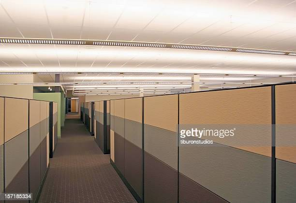 dull grey cubicle hallway - office cubicle stock pictures, royalty-free photos & images