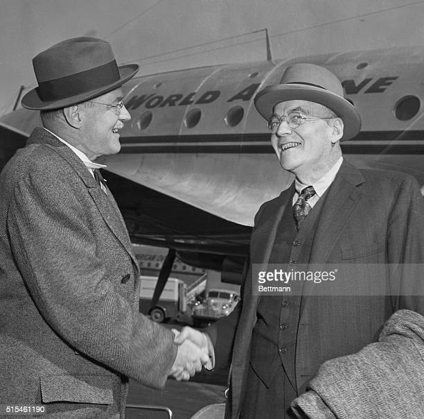 Dulles Returns Queens New York John Foster Dulles Republican party foreign policy expert is greeted by his brother Allen Dulles as the arrives in New...