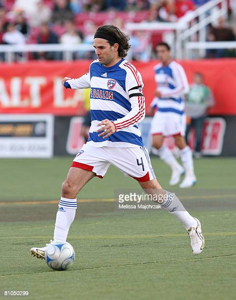 Dullio Davino of the FC Dallas kicks the ball against the Real Salt Lake at Rice Eccles Stadium on May 10 2008 in Salt Lake City Utah