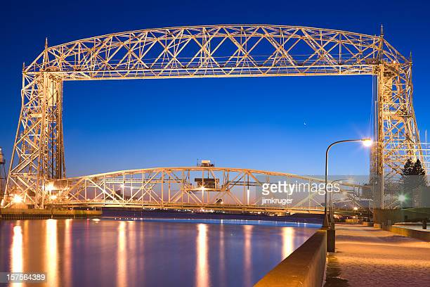 duluth lift bridge in minnesota on lake superior. - duluth minnesota stock pictures, royalty-free photos & images