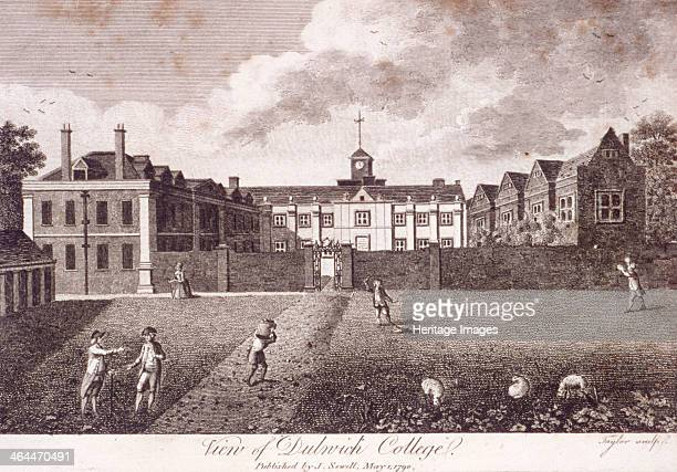 Dulwich College, Camberwell, London, London, 1790; view of Dulwich College with figures and sheep in the foreground. In the middle distance a pair of...