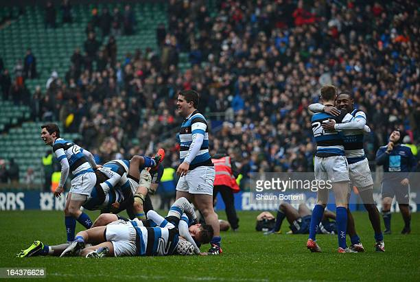 Dulwich College celebrate after winning the Daily Mail RBS Schools' Day Under 18 Cup Final between Dulwich College and Northampton School for Boys at...