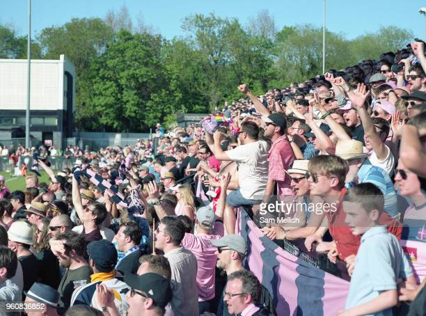 Dulwich Hamlet FC win promotion after a 43 penalty shootout against Hendon FC during the Bostik Premier League play off final on 7th May 2018 at...