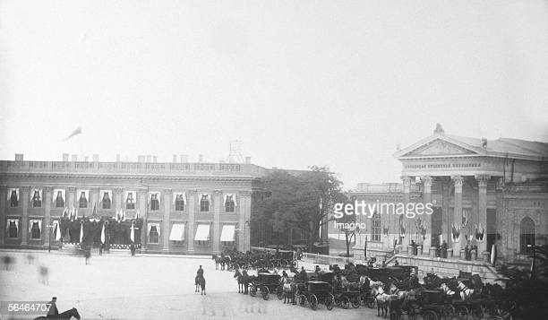 Duma and museum in Odessa, 27th September 1889. Photography. 1880ies. [Duma und Museum mit Beflaggung in Odessa 27. September 1889. Photographie....