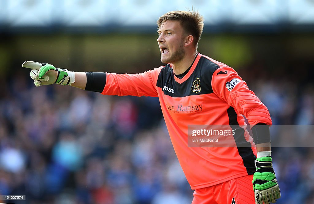 Dumbarton Goalkeeper Danny Rogers in action during the Scottish Championship League Match between Rangers and Dumbarton, at Ibrox Stadium on August 23, 2014 Glasgow, Scotland.