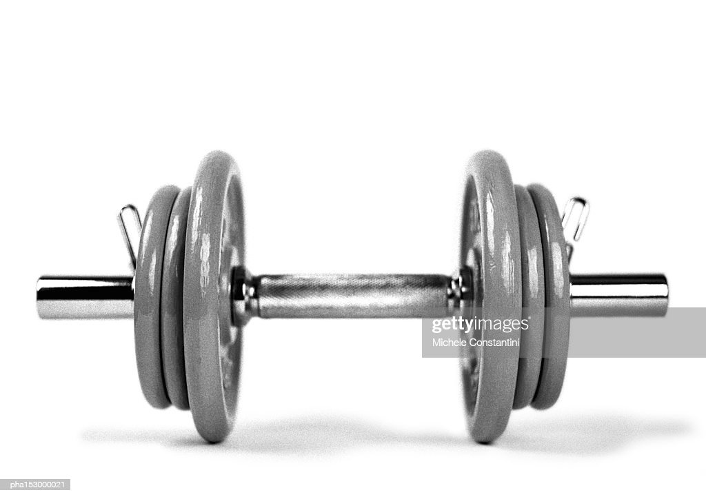 Dumbbell and weights, b&w. : Stockfoto