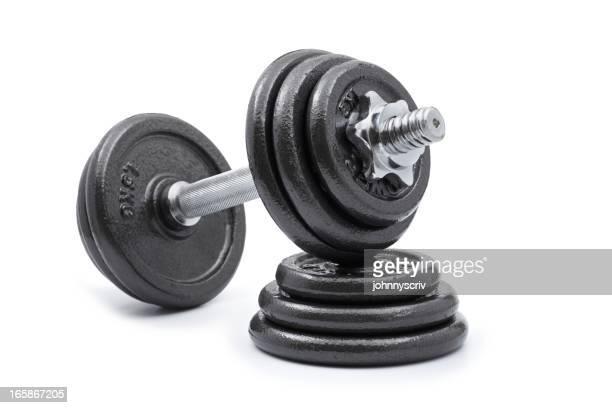 Hanteln und Gewichte.