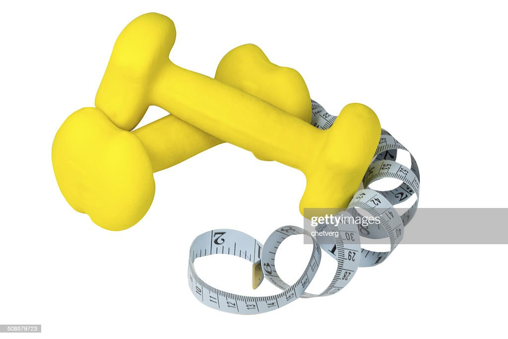 Dumbbells and meter : Stock Photo