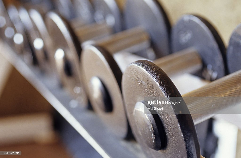 Dumbbells in a line, close up : ストックフォト