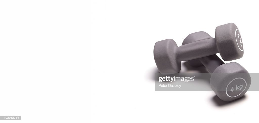 Dumbbells with copy space : Stock Photo
