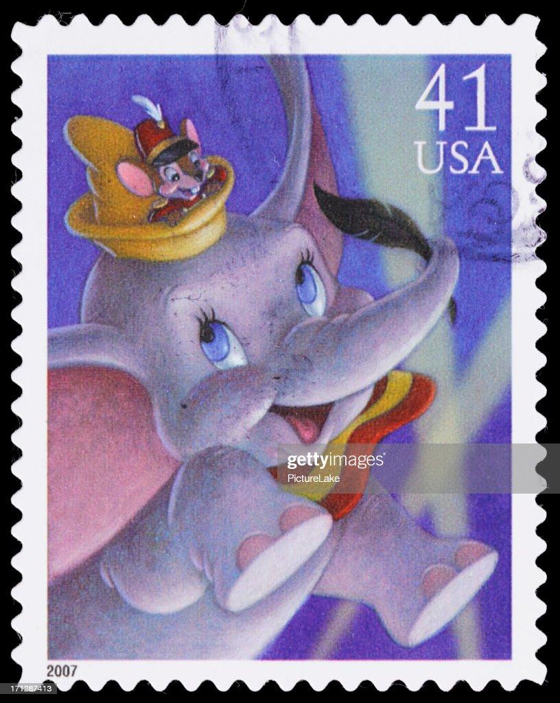 USA Dumbo and Timothy Q. Mouse postage stamp : Stock Photo