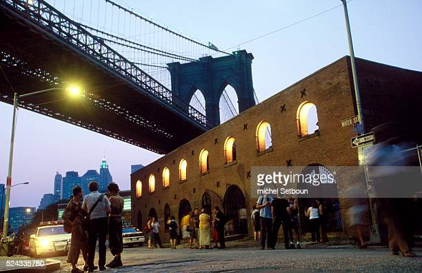 Dumbo area artist's studio under the Brooklyn Bridge at an opening exhibition by creative time by the old tobacco factory