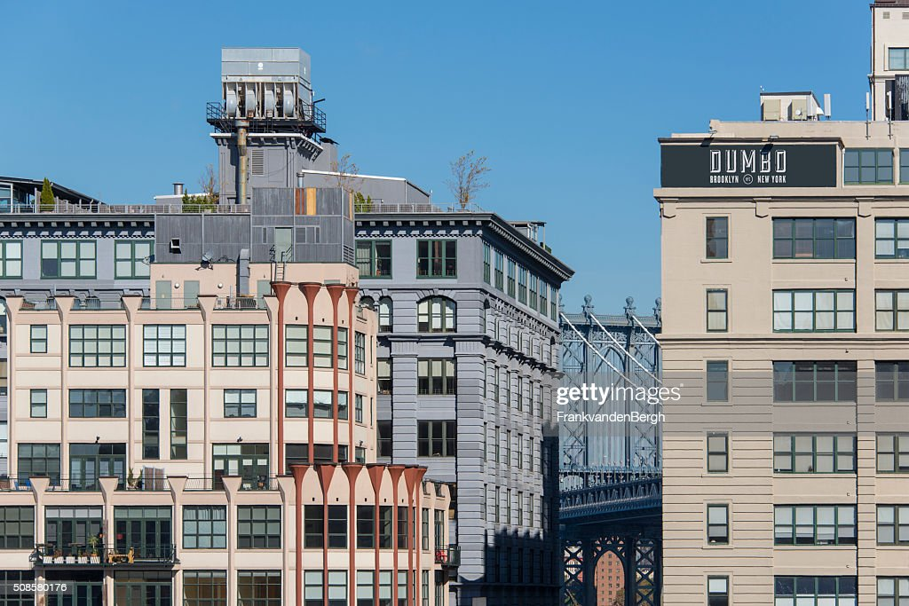 Dumbo in Brooklyn with section of the Manhattan bridge : Stock Photo