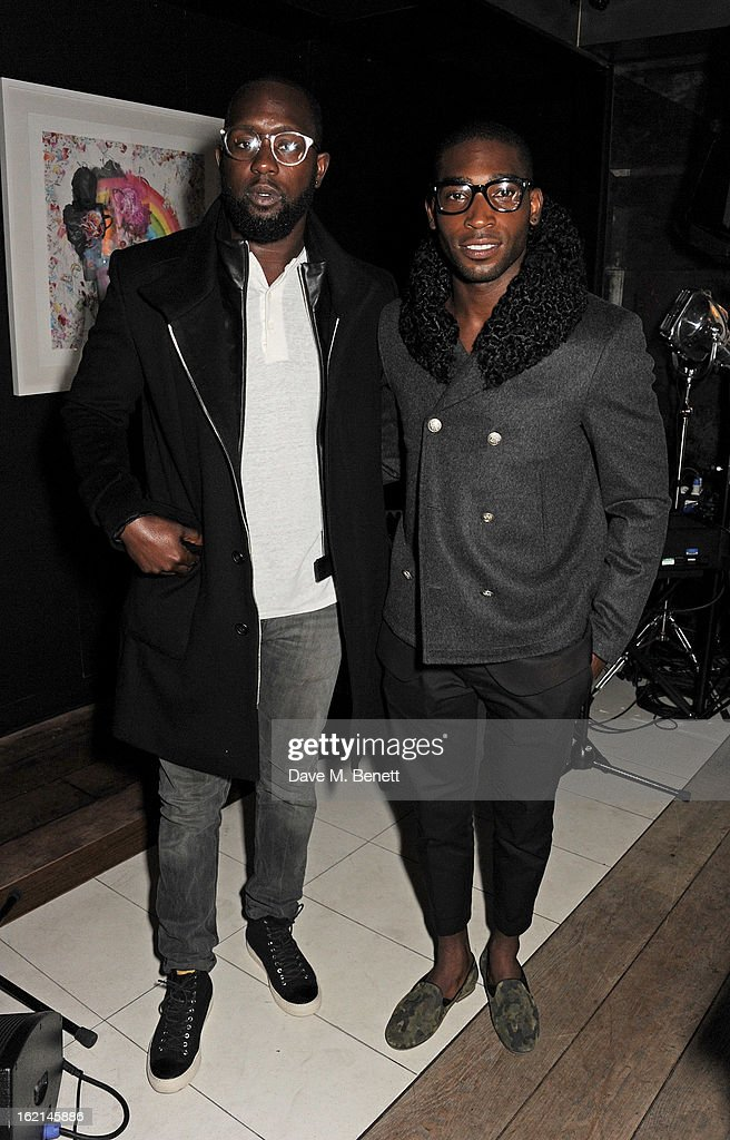 Dumi Oburota (L) and Tinie Tempah attend as Nick Grimshaw hosts his first annual award season dinner at Hix, in association with Philips Sound, on February 19, 2013 in London, England.