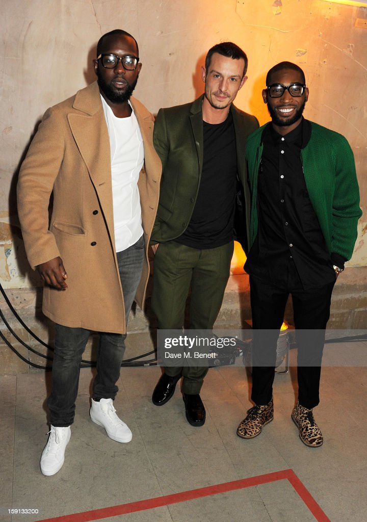 Dumi Oburota, Jonathan Saunders and Tinie Tempah attend the Jonathan Saunders, Fantastic Man and Selfridges London Collections: MEN AW13 dinner at The Old Selfridges Hotel on January 8, 2013 in London, England.