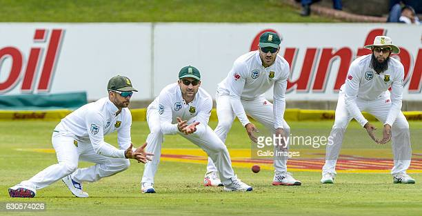 Duminy DEan Elgar Fav Du Plessis and Hashim Amla of South Africa during day 2 of the 1st Test match between South Africa and Sri Lanka at St George's...