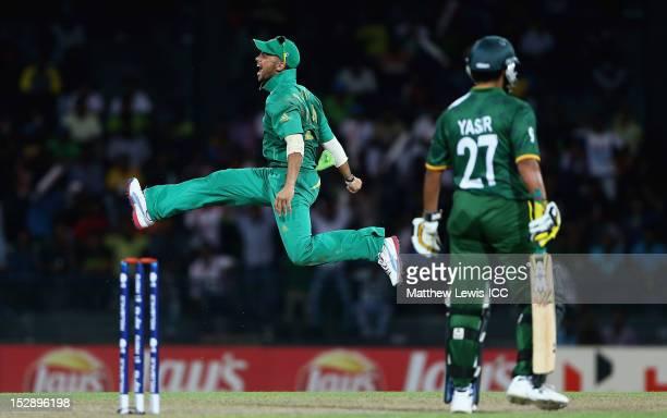 Duminy of South Africa celebrates catching Yasir Arafat of Pakistan during the ICC World Twenty20 2012 Super Eights Group 2 match between Pakistan...