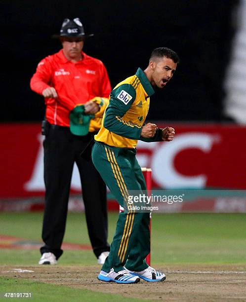 Duminy of South Africa celebrates claiming David Warner of Australia's wicket during the 2nd T20 International match between South Africa and...