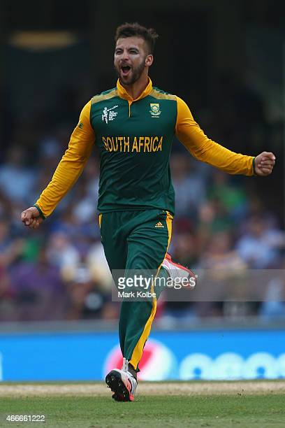 Duminy of South Africa celebrates taking the wicket of Tharindu Kaushal of Sri Lanka during the 2015 ICC Cricket World Cup match between South Africa...