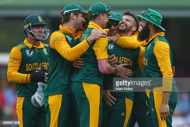 Duminy of South Africa celebrates with his team mates after taking the wicket of Tharindu Kaushal of Sri Lanka during the 2015 ICC Cricket World Cup...