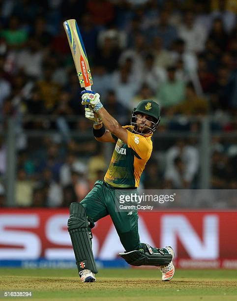 Duminy of South Africa hits out for six runs during the ICC World Twenty20 India 2016 Super 10s Group 1 match between South Africa and England at...