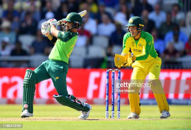 Duminy of South Africa in action batting as Alex Carey of Australia looks on during the Group Stage match of the ICC Cricket World Cup 2019 between...