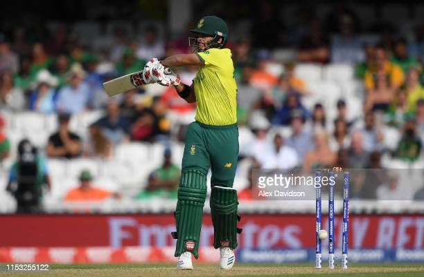 Duminy of South Africa is bowled by Mustafizur Rahman of Bangladesh during the Group Stage match of the ICC Cricket World Cup 2019 between South...
