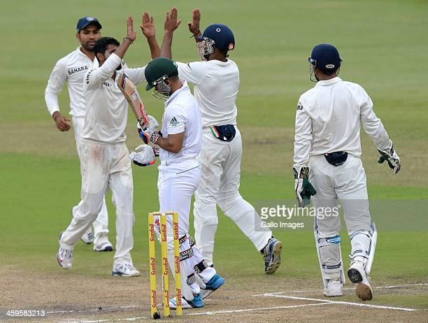 Duminy of South Africa is dismissed for 28 runs during day 3 of the 2nd Test match between South Africa and India at Sahara Stadium Kingsmead on...