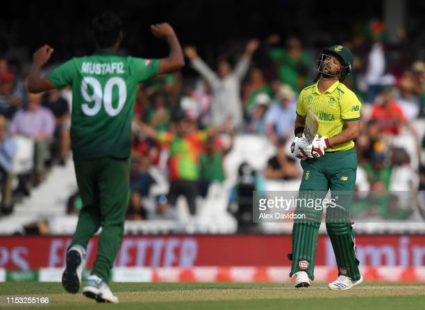 Duminy of South Africa reacts after being bowled by Mustafizur Rahman of Bangladesh during the Group Stage match of the ICC Cricket World Cup 2019...