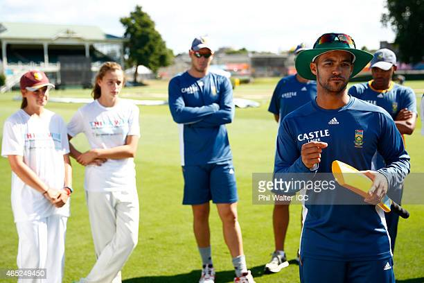 Duminy of South Africa speaks during a Charity Training and Coaching Session at Eden Park 2 on March 5 2015 in Auckland New Zealand