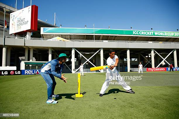 Duminy of South Africa stands as wicket keeper during a Charity Training and Coaching Session at Eden Park 2 on March 5 2015 in Auckland New Zealand