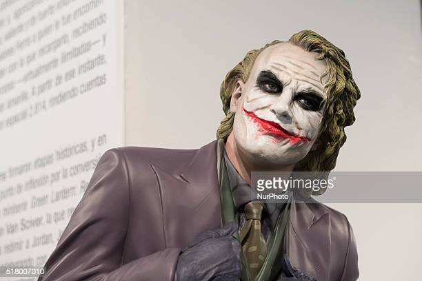 Dummy dressed as Joker at exhibition 'Universo DC Comics' during its opening at Fernando Fernan Gomez Cultural Center in Madrid Spain 29 March 2016...