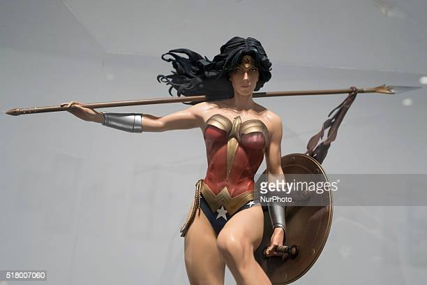 Dummy dressed as Wonder Woman at exhibition 'Universo DC Comics' during its opening at Fernando Fernan Gomez Cultural Center in Madrid Spain 29 March...