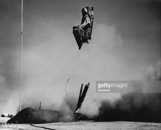 A dummy is used in a testfiring of a new RAPEC ejector seat developed by the US Navy December 1958 The tests are being carried out at the US Ordnance...