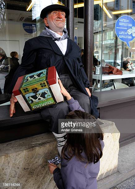 A dummy representing 'Olentzero' is placed in a coffee shop on December 24 2011 in San Sebastian Spain 'Olentzero' is the traditional Christmas...