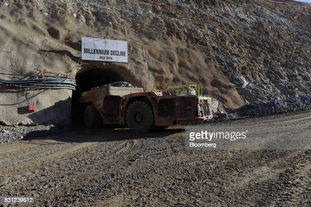 A dump truck exits the decline portal to the underground Millennium mine at the Kundana site of Northern Star Resources Ltd's Kalgoorlie Operations...