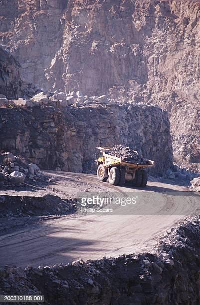 Dump truck in granite quarry