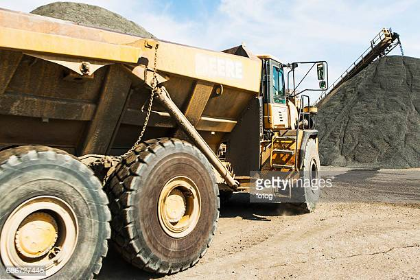 Dump truck in gravel quarry