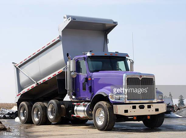 Dump Truck is Purple and Silver
