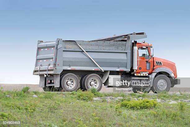 dump truck, side view - dump truck stock pictures, royalty-free photos & images