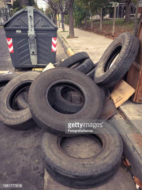 Dumped truck tires in the street